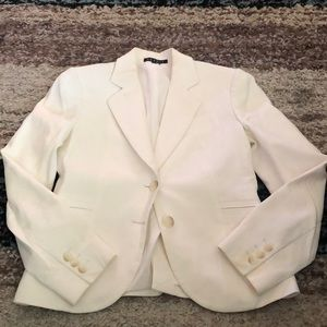Theory size 00 eggshell colored blazer.